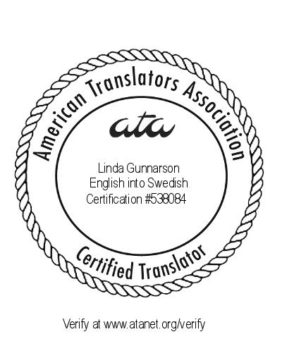 ATA certification seal for Linda Gunnarson
